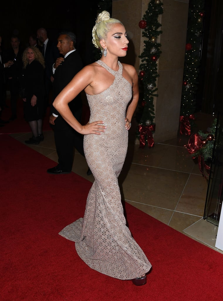Wearing an Azzedine Alaïa gown with tiny snowflake laser cutouts at the 2018 American Cinematheque Award Presentation.