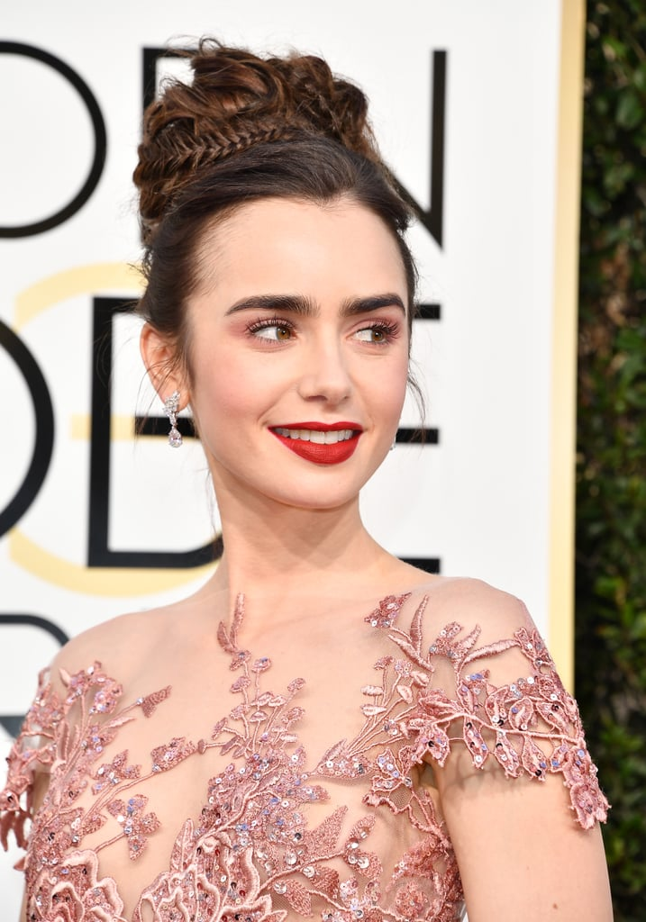 Lily Collins Hair and Makeup at the 2017 Golden Globes ...