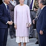 Queen Letizia Wore a Pink Furry Coat Over Her Dress