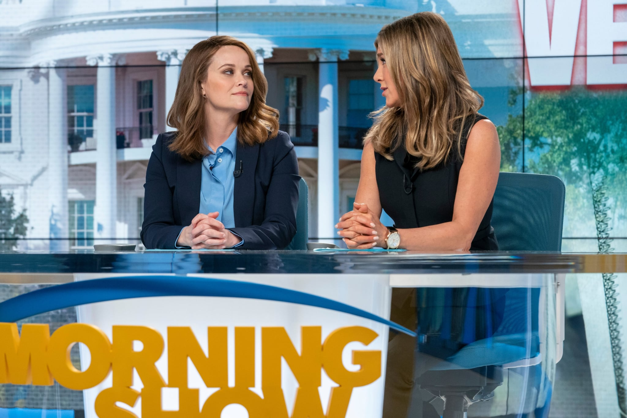 THE MORNING SHOW, from left: Reese Witherspoon, Jennifer Aniston, 'Open Waters', (Season 1, ep. 107, aired Nov. 29, 2019). photo: Apple TV+ / Courtesy Everett Collection