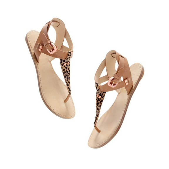 For a sassy, cowgirl-meets-urbanite daytime look, go with these T-strap sandals made of camel colored leather, leopard printed calf hair, and rose-hued buckles. Belle by Sigerson Morrison Randy Leopard Sandals ($175)