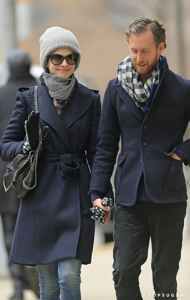 Anne Hathaway was all smiles with husband Adam Shulman in NYC on Thursday.