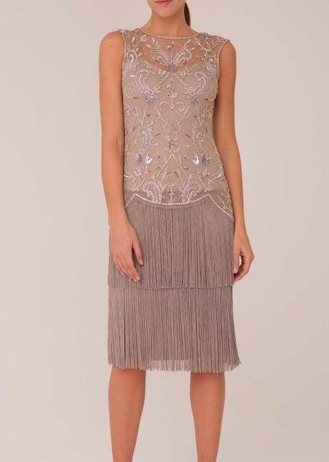 Raishma Roxie Oyster Vintage Flapper Tassel Midi Dress