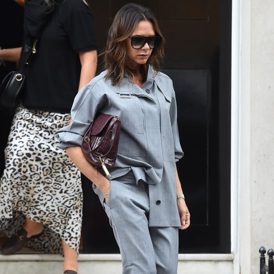 Victoria Beckham Gray Suit in London September 2018