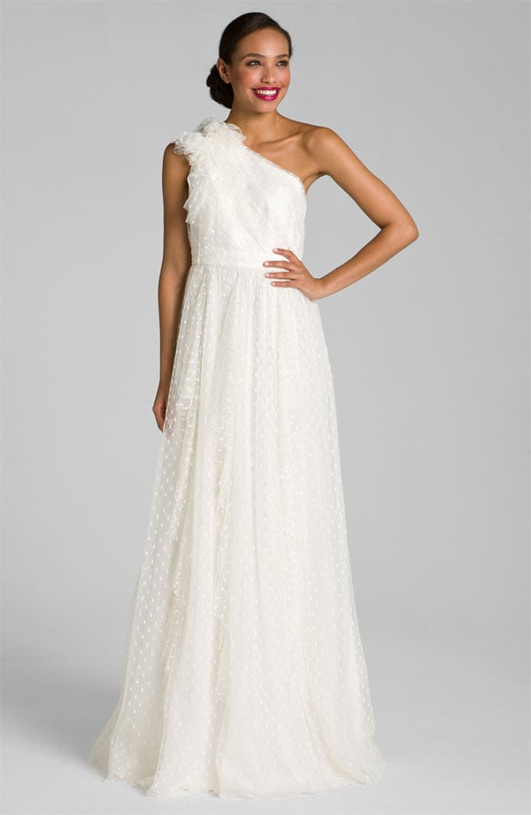 One-shouldered wedding gowns are so unique and this Carmen Marc ...
