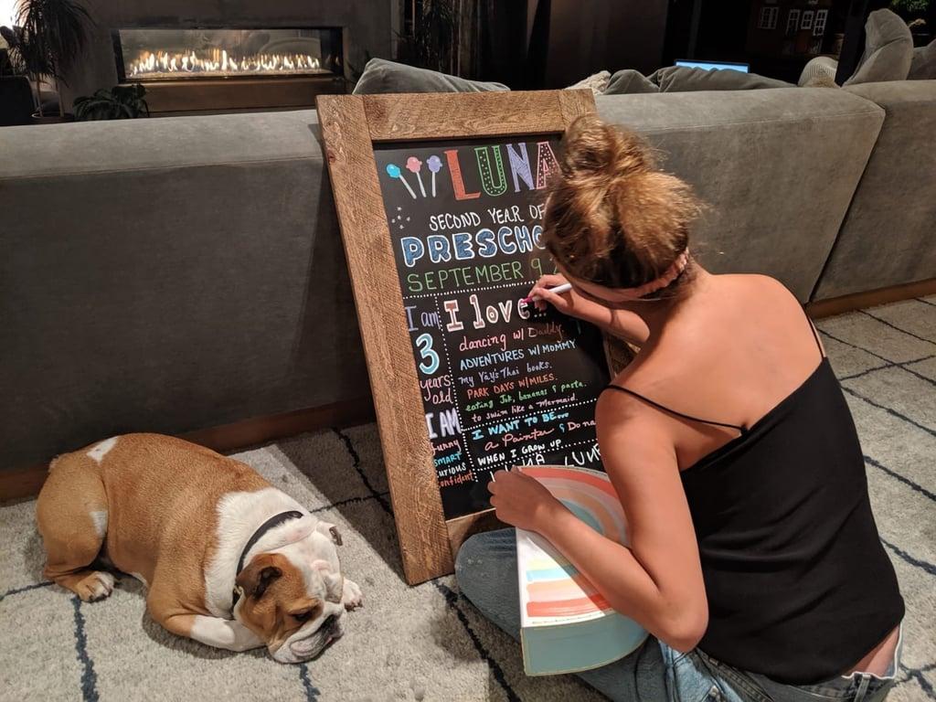 Chrissy Making Luna's Chalkboard