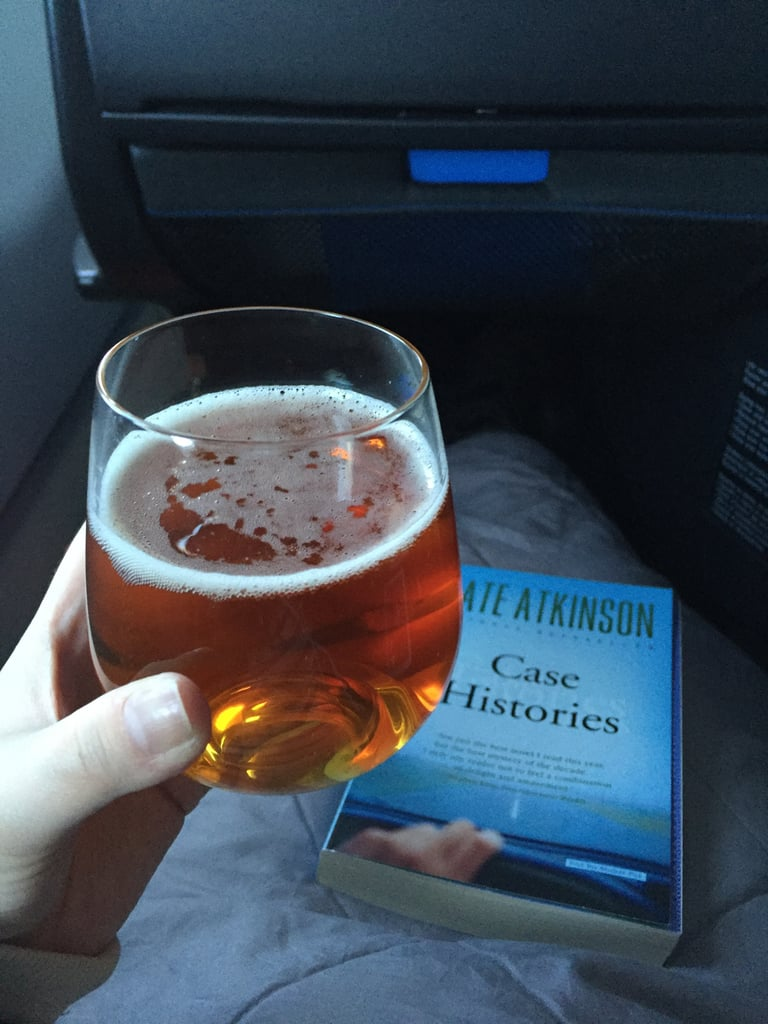 Enjoying the comfy blanket and the yummy Brooklyn Brewery Lager. This might also be a good time to mention that the service from my flight attendent was impeccable. He was always available, but I never felt like he was bugging me. Cheers to that!