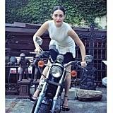 Emmy Rossum rode a motorcycle. Source: Instagram user emmyrossum