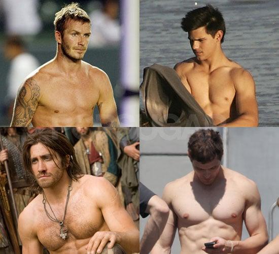 Shirtless David Beckham, Taylor Lautner, Kellan Lutz, and Jake Gyllenhaal in Bracket Final Four