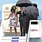 The FLOTUS and her husband looked stylish and sophisticated as they disembarked Air Force One.