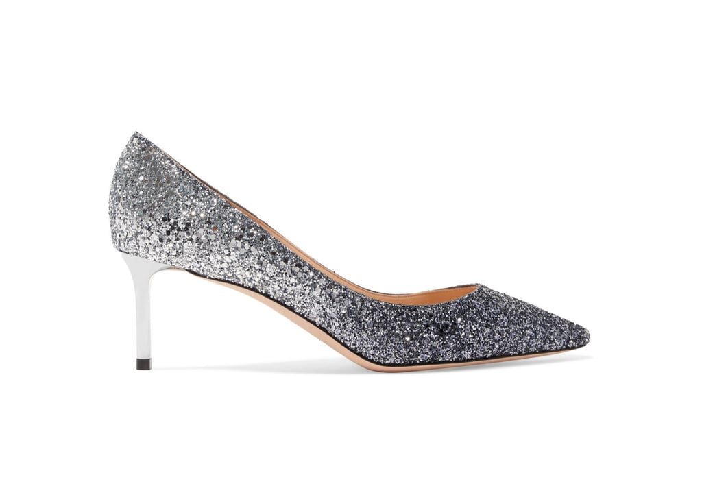 Jimmy Choo Romy Glittered Pumps