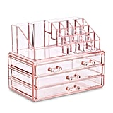 Ikee Design Acrylic Pink Jewelry & Cosmetic Storage Display Boxes Two Pieces Set