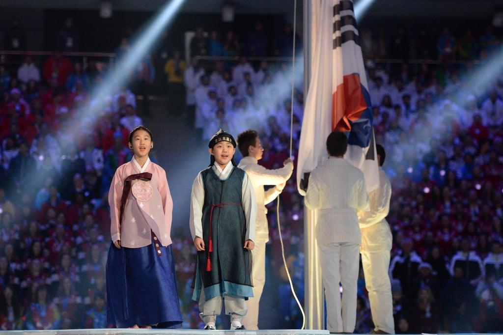 South Korean kids sang during the Pyeongchang performance.