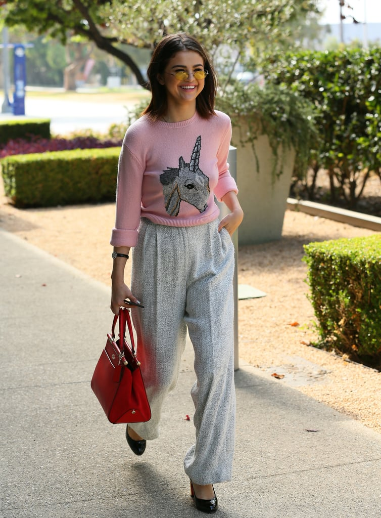 Selena Gomez Was Spotted Wearing a Coach Sweater That Featured a Unicorn