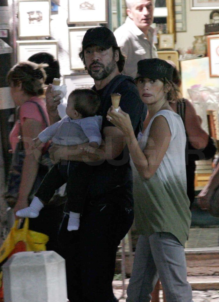 Penelope Cruz and Javier Bardem took baby Leo for a walk in Bosnia.
