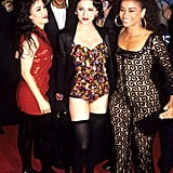 With her dancers at the Truth or Dare premiere in 1991.