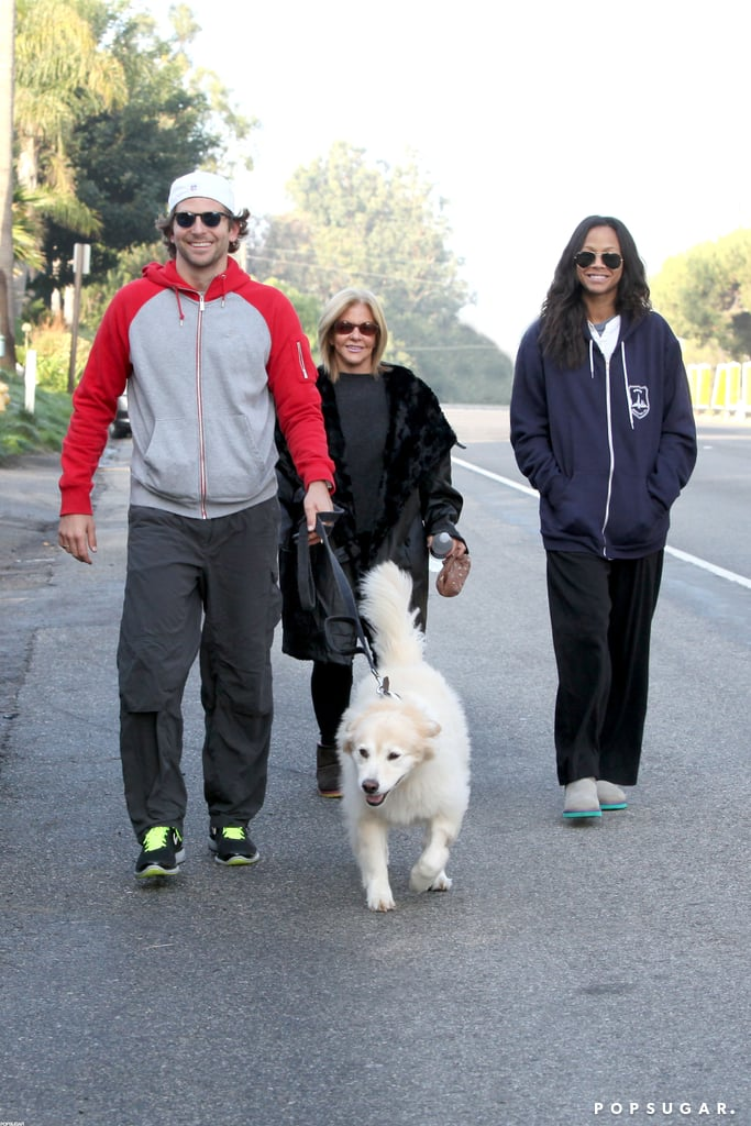 Bradley Cooper, his mom, and Zoe Saldana took his dog for a walk on Thanksgiving.