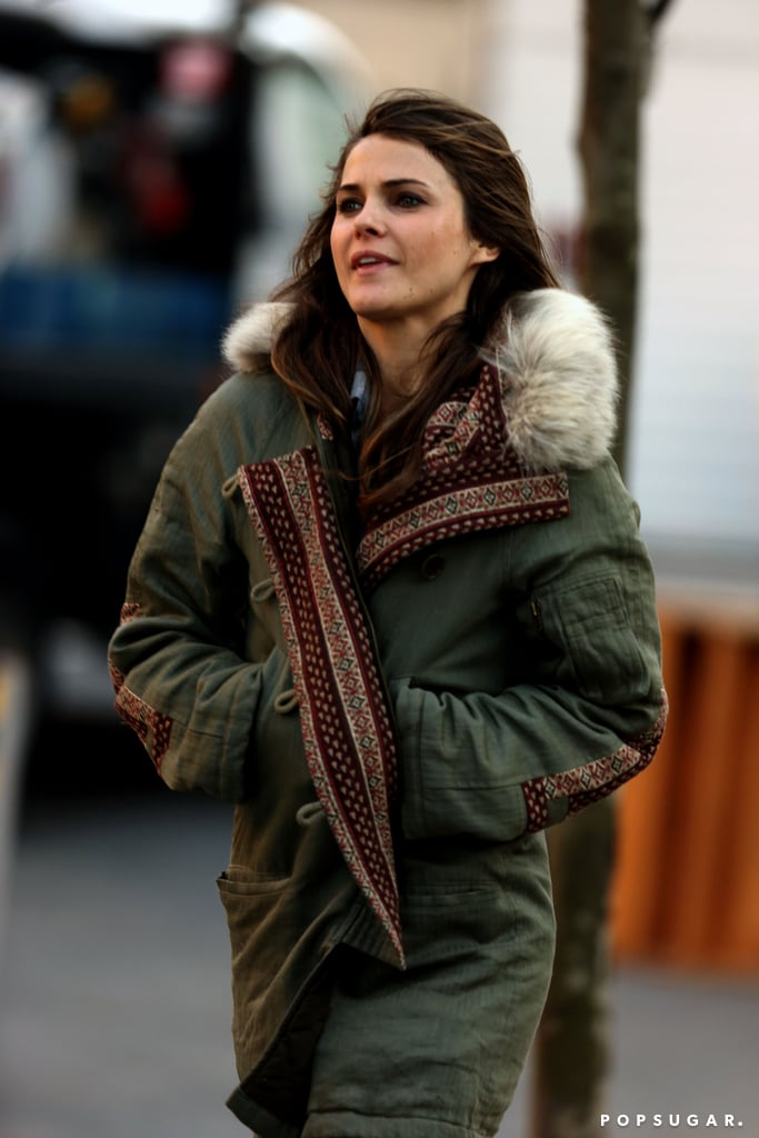Keri Russell sported a heavy coat on the set of The Americans.
