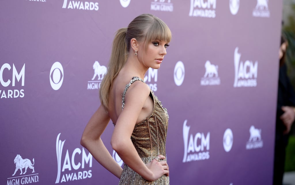 Taylor Swift fronted up to the media at the Country Music Awards in Las Vegas on April 7.