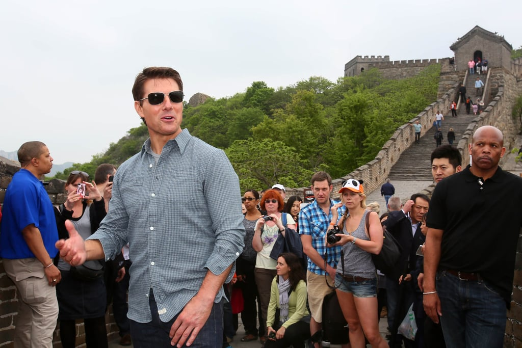 Tom Cruise greeted fans at the Great Wall of China.