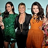 Jen was surrounded by lovely lady friends — Drew Barrymore, Jennifer Connelly, Ginnifer Goodwin, and Scarlett Johansson —at the LA premiere of He's Just Not That Into You in February 2009.