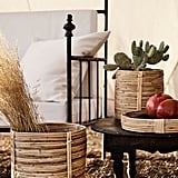 H&M Large Rattan Plant Pot