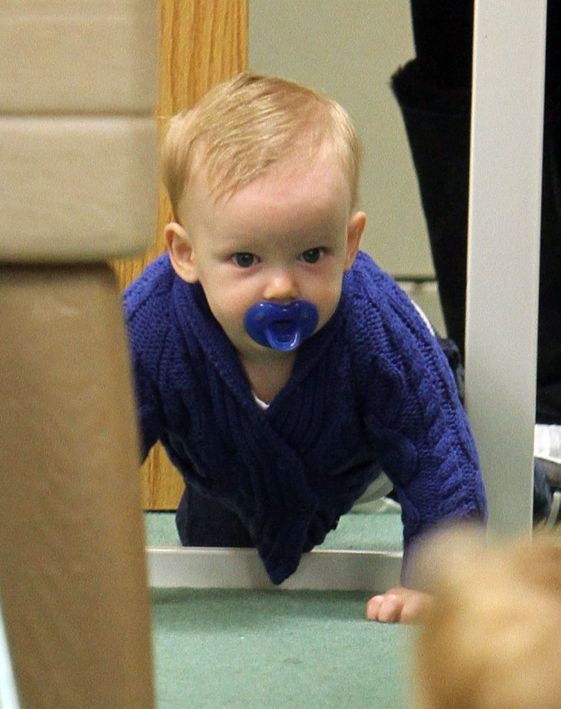 Luca Comrie looked adorable in blue.