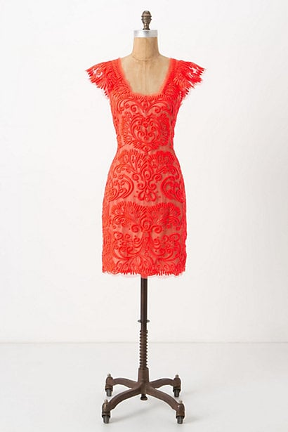 The uniquely bright color on this Anthropologie Sunblaze Lace Dress ($328) would be the antidote to any of your other predictable Fall dress options. But if you fear the bold hue, just temper it with black tights and black boots.