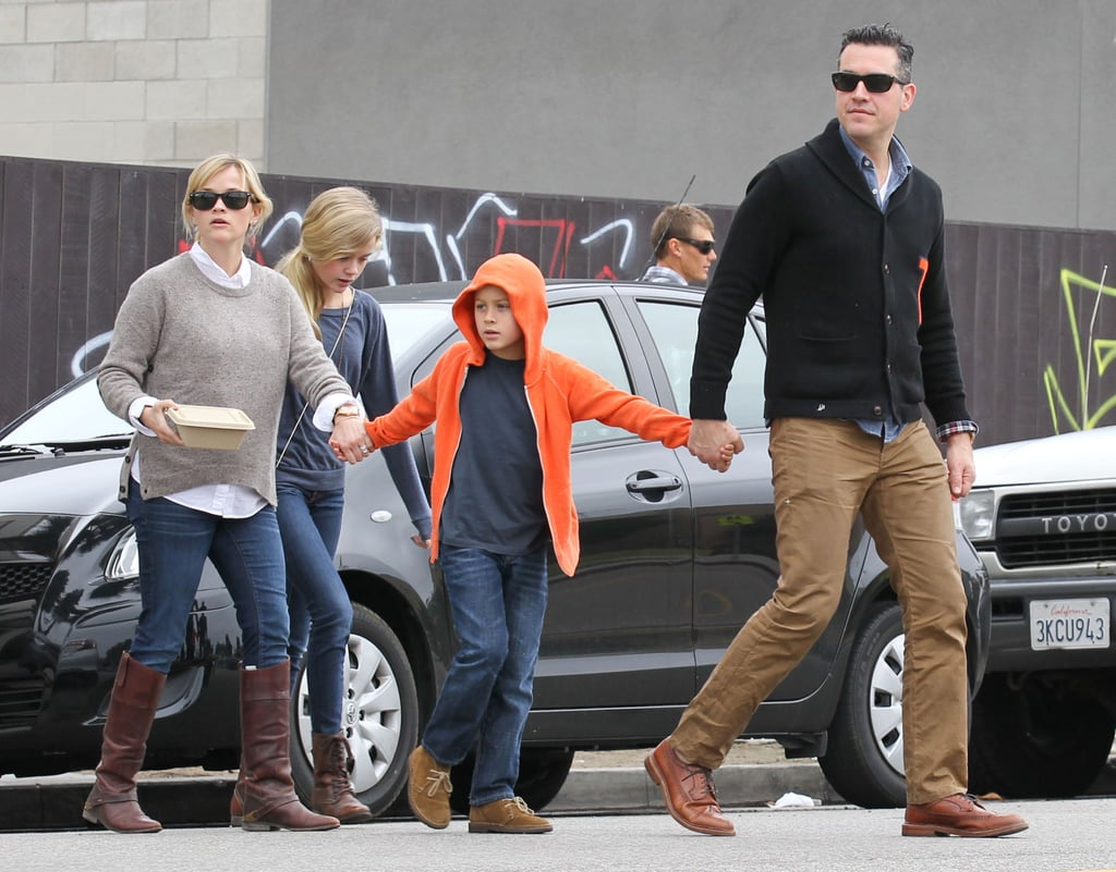 Reese Witherpsoon left breakfast with her family in LA.