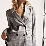 Forever 21 Plaid Double-Breasted Blazer