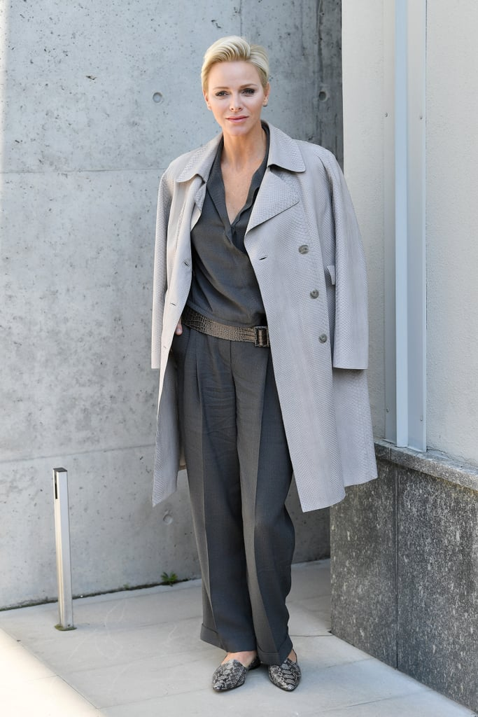 Princess Charlene looked very chic at the Giorgio Armani show in September 2017.