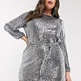 River Island Plus Sequinned Mini Dress in Silver