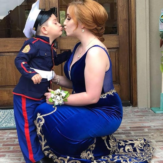 Marine's Toddler Brother Stands in For Prom