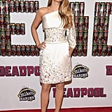 On the Deadpool red carpet, Blake slipped into this one-shouldered Chanel confection.