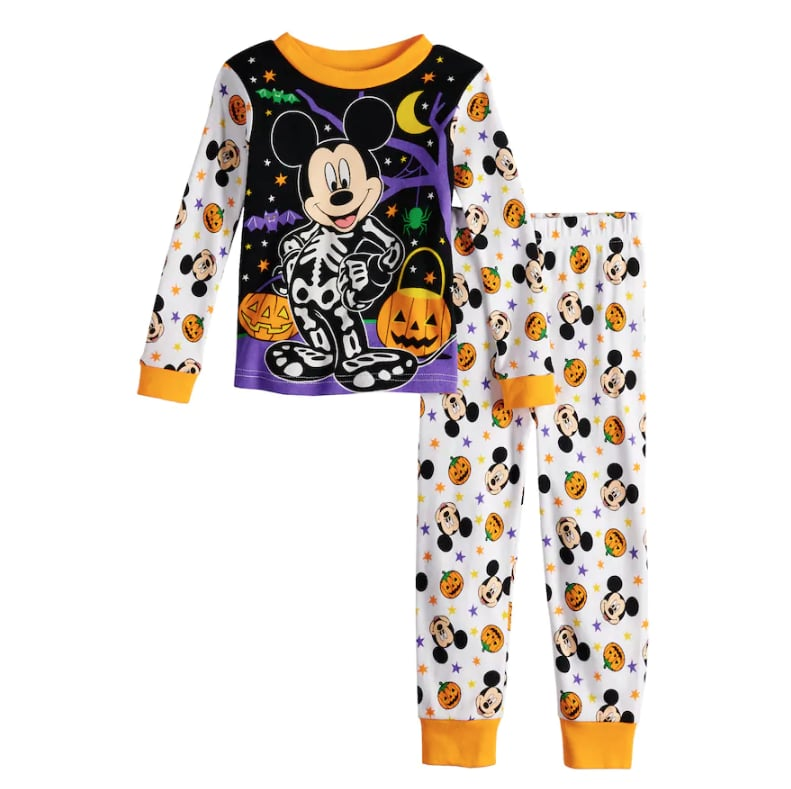 mickey mouse glow in the dark halloween pajama set