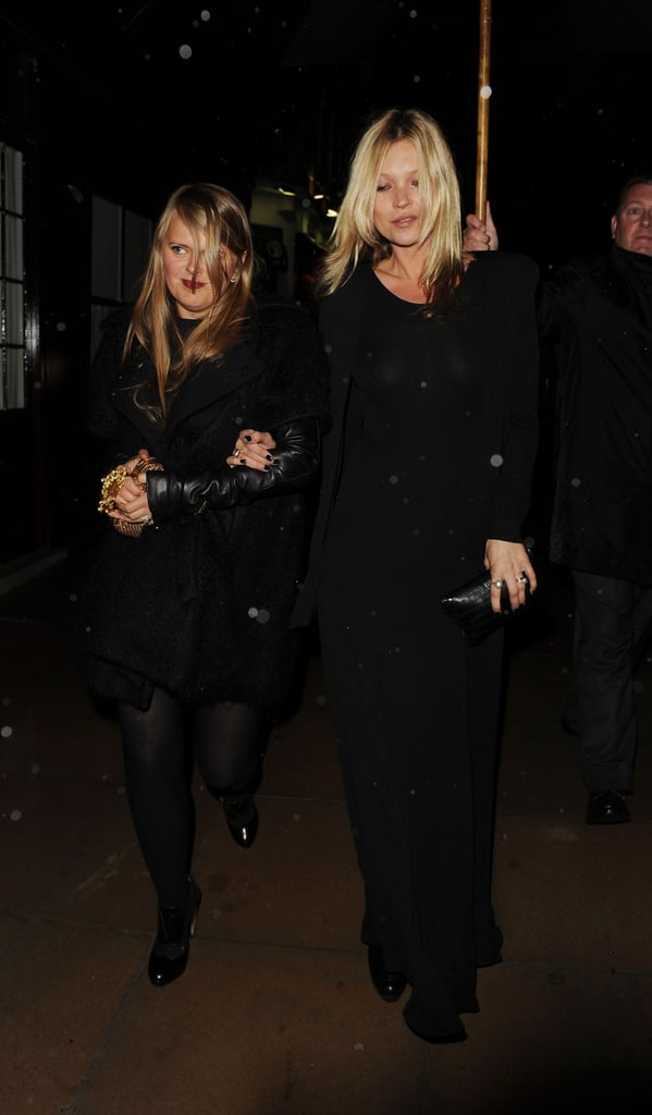 Kate Moss wore a long black dress while out in London during June.
