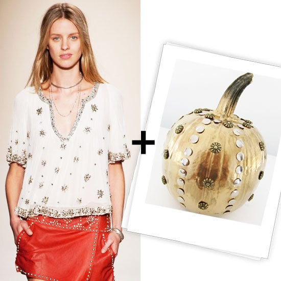 Think pumpkin decorating is just for kids? Think again. With Halloween around the corner, we got into the festive spirit and created our own — not to mention very stylish — runway-inspired pumpkin for you to try out at home. It's super easy (around 30 minutes total), and no carving is necessary. Our inspiration point? The awesome studs and embellishments from Isabel Marant's Spring '13 collection.