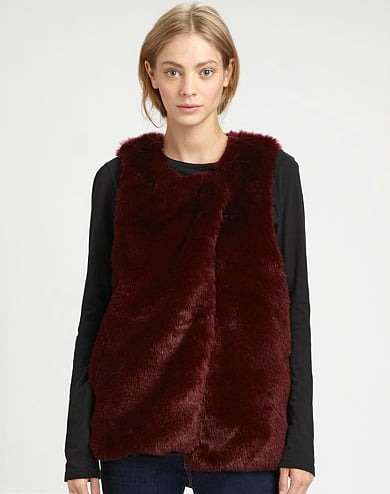 Style this rich bordeaux Patterson J. Kincaid Bandit Faux Fur Vest ($298) with a long-sleeved sheath dress and ankle boots for a cozy twist on workwear, and with a sweater and jeans for off-duty cool.