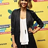 Jessica Alba showed off her new hairstyle as she hit SXSW with her venture The Honest Company.