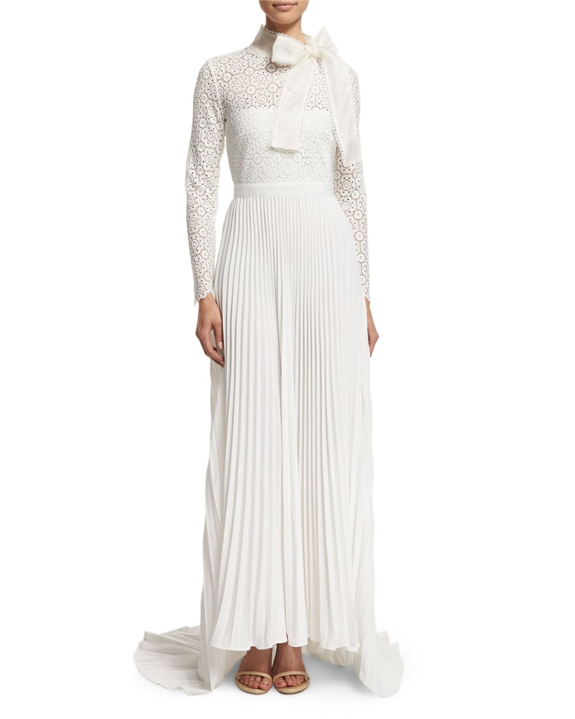 Self-Portrait Apparel Long-Sleeve Pleated Lace-Trim Gown ($1,350)