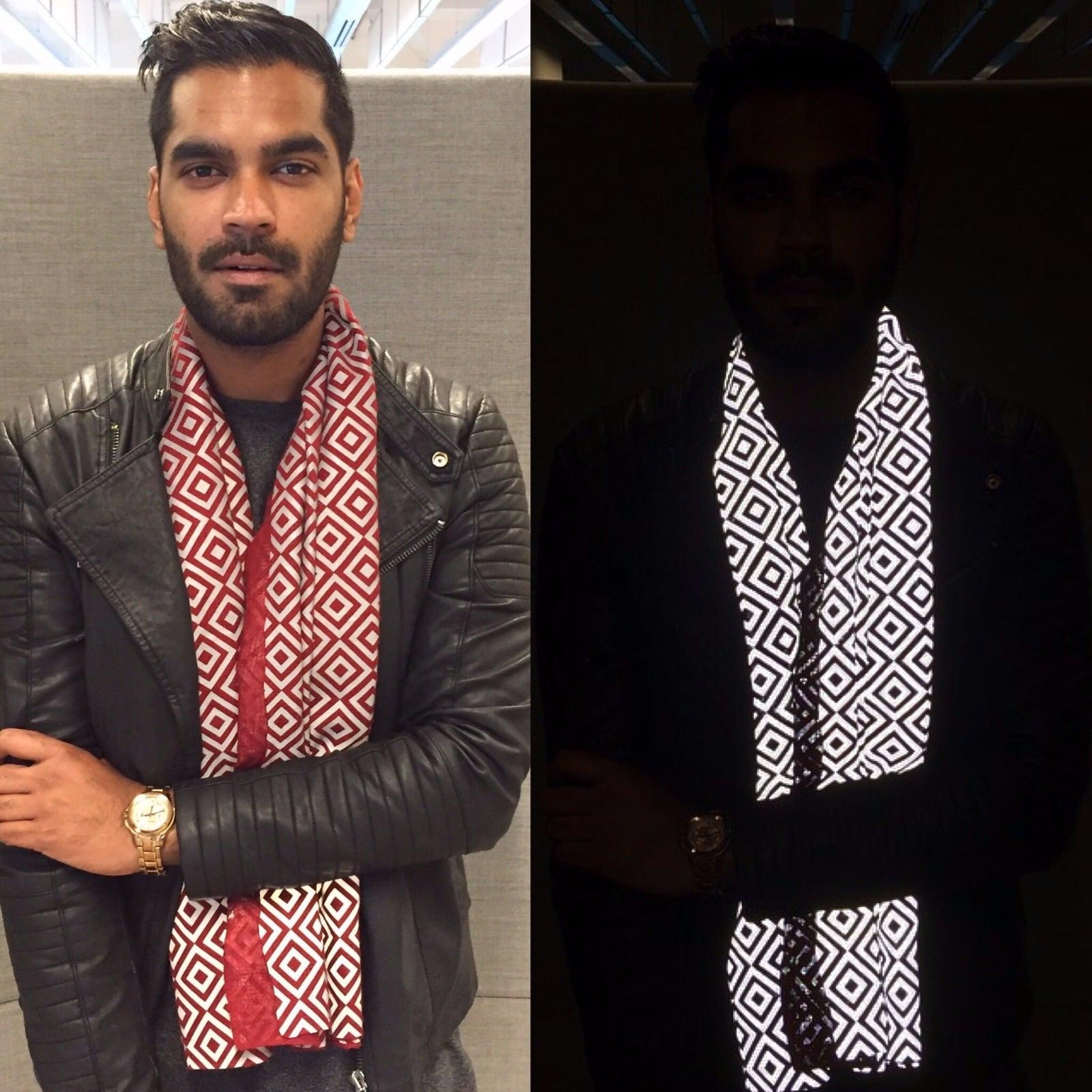 Founder, Saif Siddiqui wearing ISHU Anti-Flash Scarf