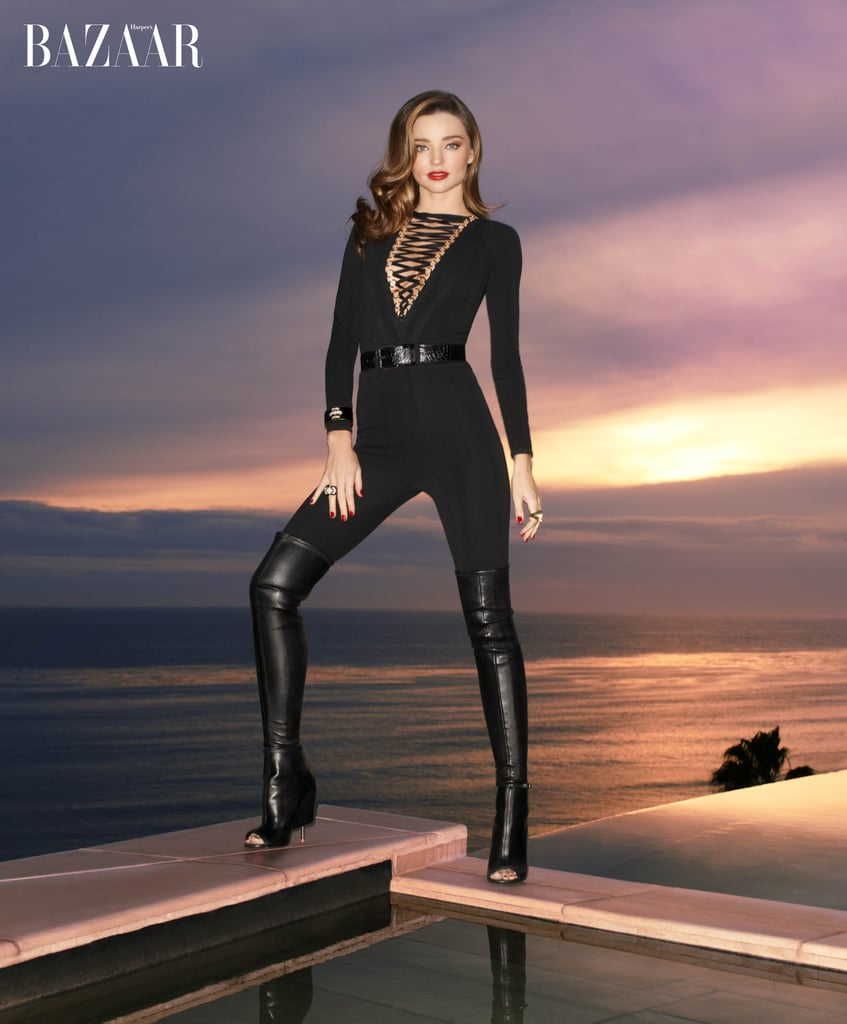 """Miranda Kerr graces the cover of US Harper's Bazaar's February 2015 issue, and inside the publication she got candid about relationships and dating. The model, who calls NYC home, even opened up about her friendly relationship with ex Orlando Bloom and shared sweet words about their now-4-year-old son, Flynn. It's clear that both Orlando and Miranda have made Flynn their priority while also maintaining their busy careers. Read on for more from Miranda:  On Orlando: """"[He] lives 30 seconds away. Flynn has the best of both worlds that way. Orlando will always be my family. We get on so well. We hang out a lot. We're a team, and we really work on that because Flynn is our priority. We're both really transparent about everything. Even though we don't need to be!"""" On Flynn: """"He's the sweetest boy, really so gentle and so loving and so — I get a tear in my eye because I'm so proud of him. He's really engaging and funny."""" On tabloids: """"Some of the stuff that gets written, there's not one bit of truth to it. Not even a smidgen! But if you worry about what other people think, it's just a downward spiral."""" On dating: """"I'll go on a date here and there if it works. But at this point my priority is my son. I'm not looking for a relationship. I'm just not."""" On relationships: """"You know, for a long time I had it the wrong way. I was constantly doing, doing. Giving, giving for my partner. But what works is not feeling like you have to be everything to everyone."""" On initiating contact with a man: """"I don't believe in that. I believe in the man chasing the girl, but that's just me personally. I think a woman should respond but not reach out."""" On having sex on the first date: """"My philosophy is that until you get to know them it's better not to, because energetically as a woman you get attached. So you're better off to go on a few dates and see if you want to get attached or not."""""""