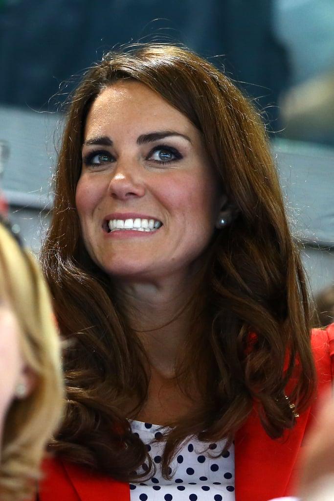 The duchess was nervous watching swimming.