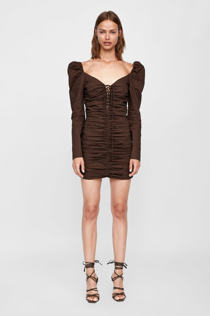 Zara short dress with ruching ($119)