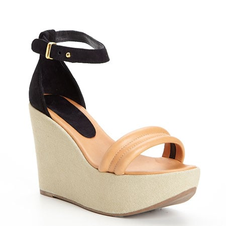 Two-Tone Leather and Suede Wedges