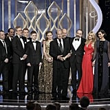 The cast and crew of Homeland accepted the award for best TV series, drama.