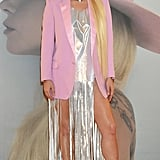 She's Been Wearing Her Gladys Tamez Wide-Brims With Plenty of Outfits, Including This Silver Fringe Dress