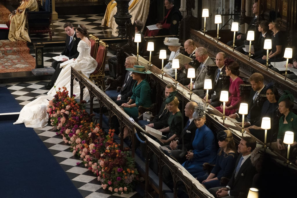 """Sarah and Andrew were given the seats closest to where Eugenie and Jack sat during portions of the ceremony. This seems to be the official """"royal parents"""" spot — it's where Prince Charles sat during the weddings of both of his sons!"""