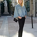 Elin King worked basic denim in a bold cut on her cape-like jacket.