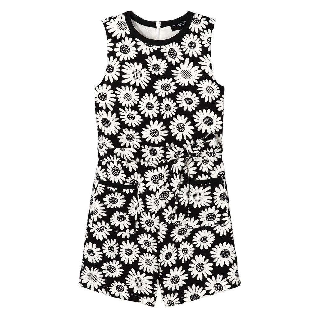 Girls' Black Mini Daisy Tie Waist Romper  ($25)
